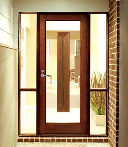 Glazed Door glazing door glass & wooden color aluminum frame single glazing